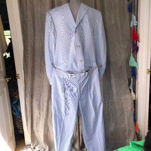 burberry london blue white striped cotton suit 42